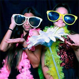 Photo booth image of you women at Bat Mitzvah